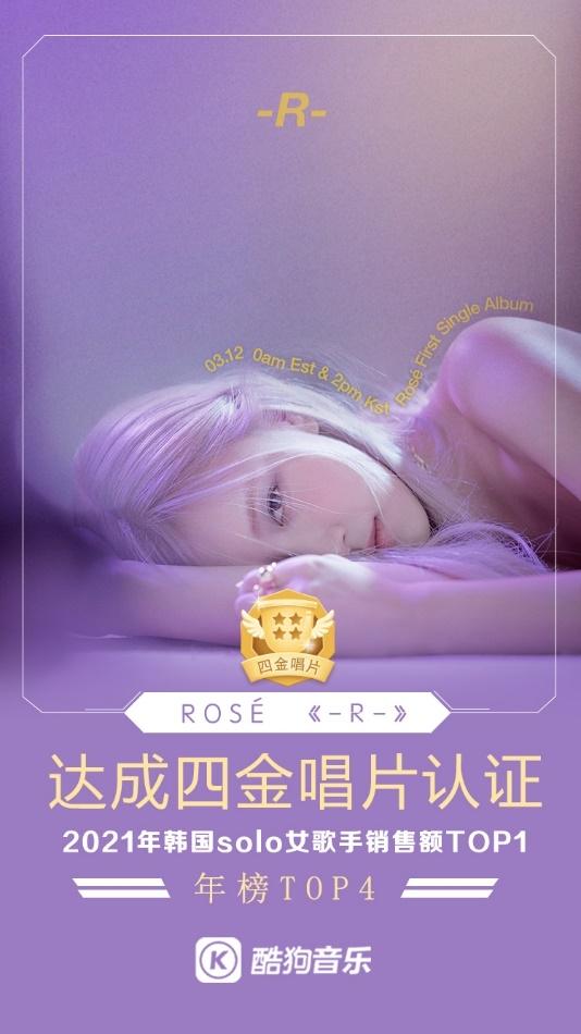 ROSé首张个人专辑怒掀玫瑰风潮 火速斩获酷狗四金唱片认证