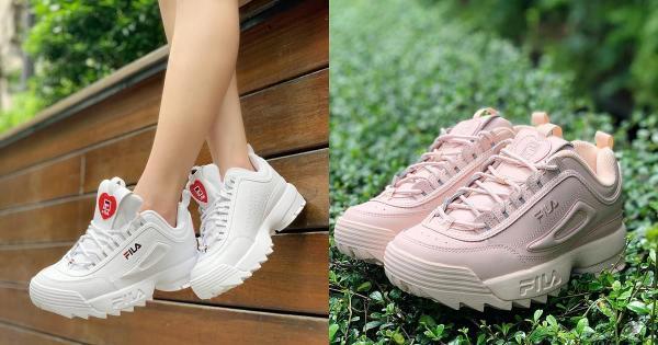FILA新款太梦幻!草莓奶霜色调必须收、厚磅鞋底打造超长腿比例!