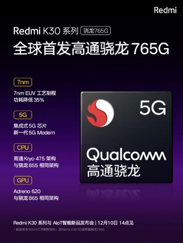 首发索尼IMX686传感器+骁龙765G 5G先锋Redmi K30蓄势待发