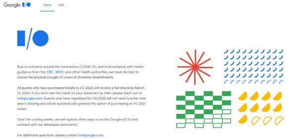 受疫情影响,谷歌宣布取消2020 Google I/O开发者大会