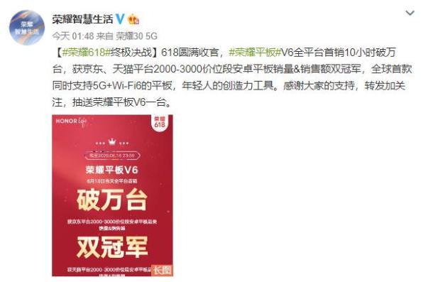 荣耀618战报:荣耀平板V6全平台首销10小时破万台