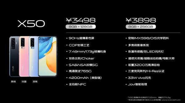 售价最低3498元起 vivo X50明天开售