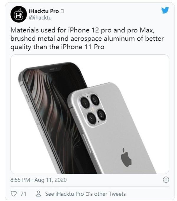 iPhone 12 Pro系列或采用航空铝机身