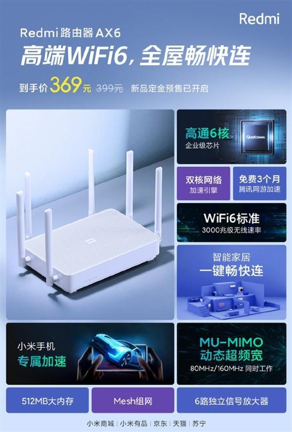 Redmi WiFi 6路由器AX6明日起售