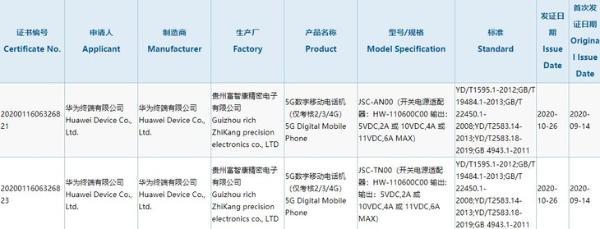 华为Nova 8系列入网,配备66W充电