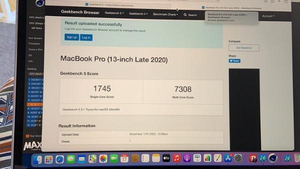 苹果M1处理器跑分持续揭晓:单核性能非常给力
