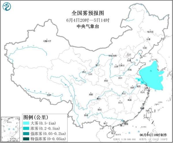 大雾黄色预警 江苏中部等地部分地区有大雾
