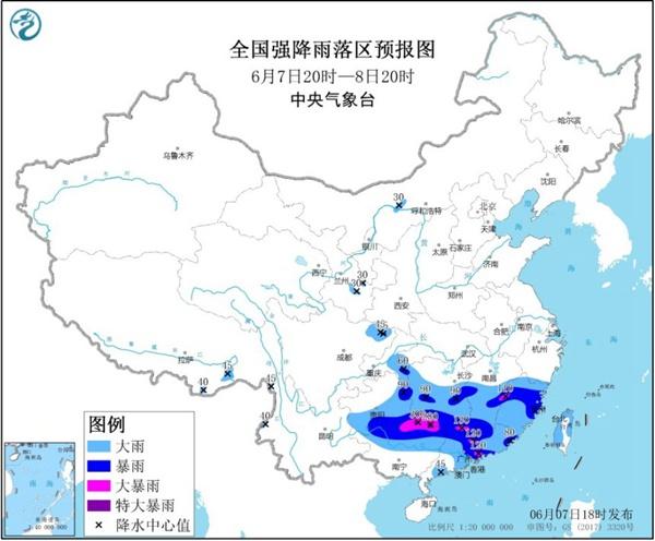 暴雨黄色预警:广西局地有特大暴雨并伴强对流天气