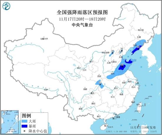 暴雨蓝色预警 山东辽宁等地部分地区有暴雨