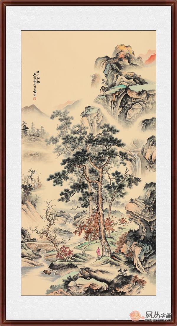 说宽不宽,说窄不窄的过道,挂一幅四尺竖幅的山水画也是非常合适的.图片