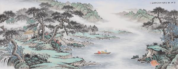 18年手绘国画山水画宏伟大气显