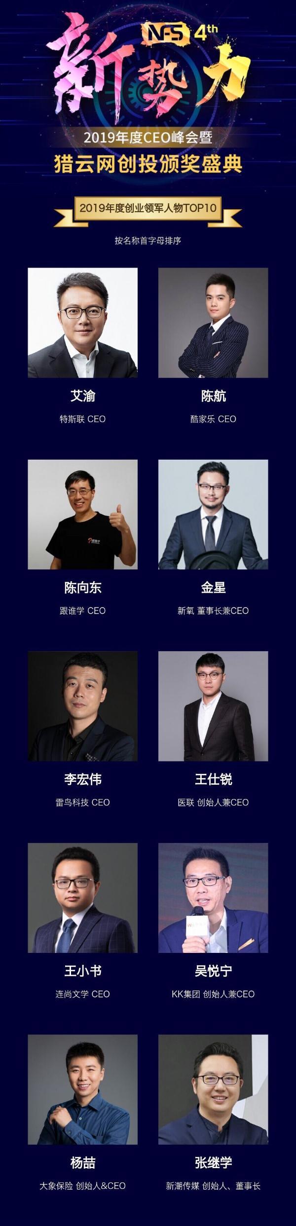 """大象保险CEO杨喆荣获猎云网""""2019年度创业领军人物""""奖项"""