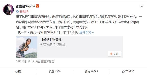 张雪迎发长文回应粉丝,为姐姐的冲动言论道歉
