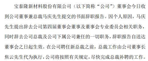 宝泰隆董事兼总裁马庆辞职 2018年薪酬为95万元
