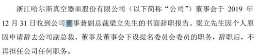 哈尔斯董事兼副总裁梁立辞职 2018年薪酬为134万元