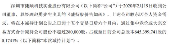 捷顺科技股东赵勇拟减持股份不超28万股 占总股本0.17%