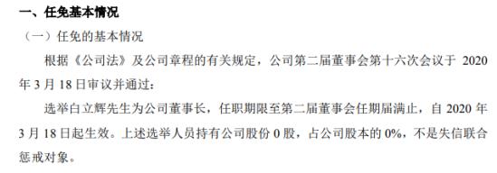 辽宁文投选举白立辉为董事长 不持有公司股份