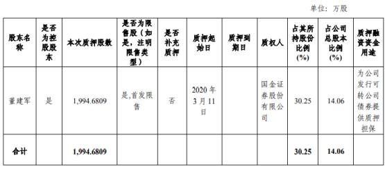 翔港科技股东董建军质押1995万股 用于为可转债券提供质押担保