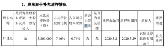 青松股份股东广佳汇质押380万股 用于补充质押