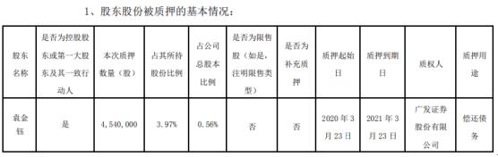 顺络电子股东袁金钰质押454万股 用于偿还债务