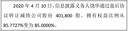 东立科技股东饶华减持40万股 权益变动后持股比例为85%