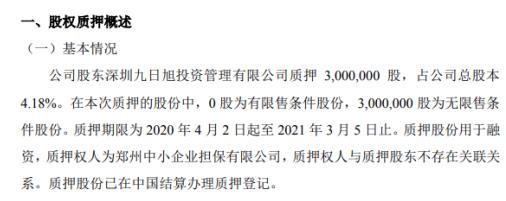 慧联电子股东质押300万股 用于融资