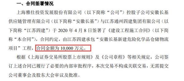 上海雅仕控股子公司签订《建设工程施工合同》 合同金额1亿元