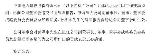 中国电建副董事长孙洪水辞职 2019年薪酬133万元