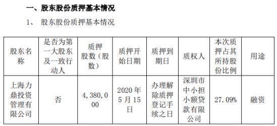上海瀚讯股东上海力鼎质押438万股 用于融资