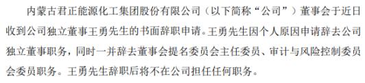 君正集团独立董事王勇辞职 2019年薪酬为12.5万元