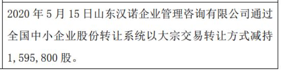 汉诺佳池股东减持159.58万股 权益变动后持股比例为90%