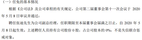 中寰股份聘任张迪为公司副总经理