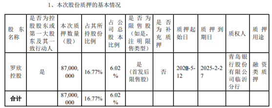 罗欣药业股东罗欣控股质押8700万股 用于融资类质押
