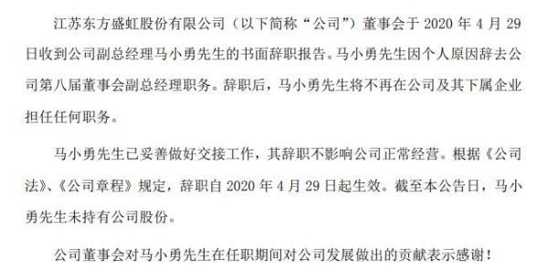 东方盛虹副总经理马小勇辞职 2019年薪酬65万元