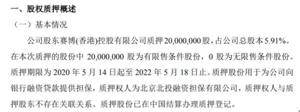 蓝山科技股东质押2000万股 用于为公司向银行融资贷款提供担保