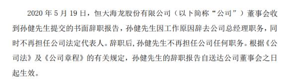 恒天海龙总经理孙健辞职 2019年薪酬为46万元