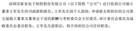 新亚制程独立董事王军辞职 高昊接任