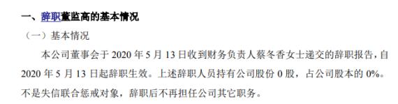 正达股份财务负责人蔡冬香辞职 不持有公司股份