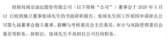 招商南油独立董事张琦辞职 因工作原因