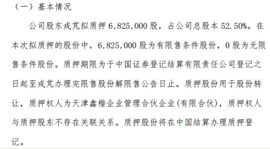 海宏股份控股股东戎芃拟质押682.5万股 用于股份转让