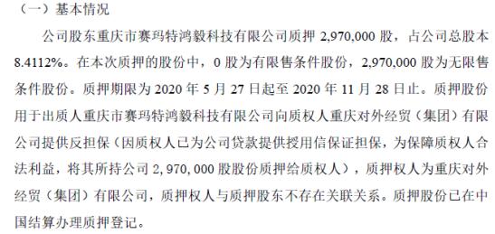 渝欧股份股东质押297万股 用于提供反担保