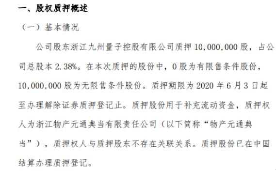 九州量子股东质押1000万股 用于补充流动资金