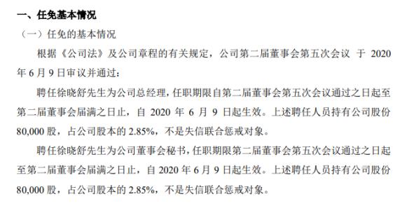 佳锐科技聘任徐晓舒为总经理 持有公司2.85%股份