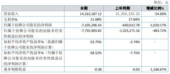 元盛光电2019年亏损710.52万亏损增加 销售大幅下降