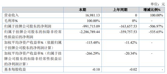 雨柔科技2019年亏损99.17万亏损增加 资产减值损失大幅增加