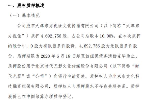 时代光影股东天津东方视佳质押469.28万股 用于公司向银行申请贷款