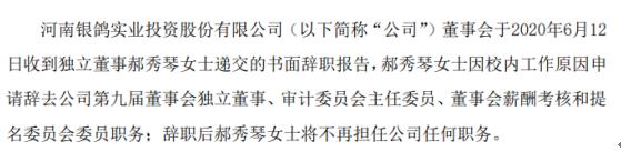 *ST银鸽独立董事郝秀琴辞职 2019年薪酬为0.58万元