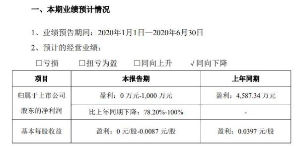 海南瑞泽2020年上半年预计净利0万元至1000万元 业务逐步恢复正常