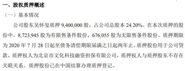 龙腾影视股东吴怀玺质押940万股 用于公司贷款