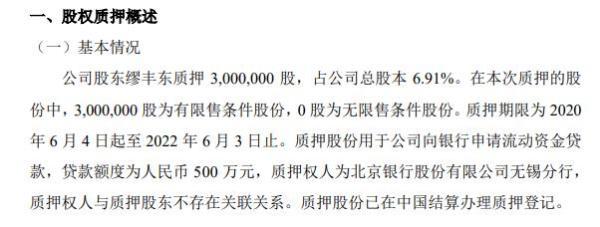 美安医药股东缪丰东质押300万股 用于申请流动资金贷款